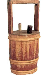 A wooden heating barrel